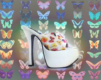 90's Hologram Butterfly Floral White Mega Platform High Heel Sandal Mules // SZ 8.5 - 9