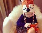 Baby fox hat, sleepy fox hat, fox costume, knit baby hat, newborn fox hat, crochet animal hat, orange and black, Newborn to 12 Month sizes