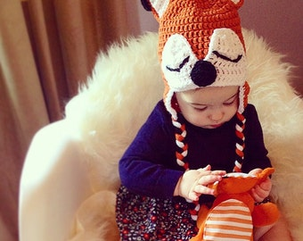 Baby fox hat, sleepy fox hat, fox costume, knit baby hat, newborn fox hat, crochet animal hat, orange and black, Newborn to 12 Month sizes