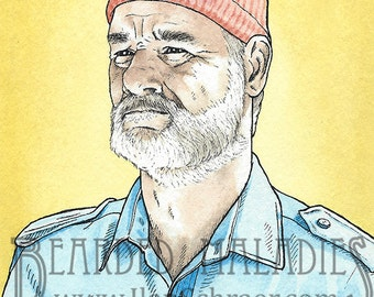 """Bill Murray greeting card, Life Aquatic with Steve Zissou, Yellow background, Blank inside 4.25"""" x 5.5"""", Wes Anderson, Owen Wilson"""