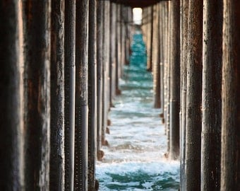 Ocean Photography  Pier Photography Beach Photography Blue Brown  Fine Art Photography Print