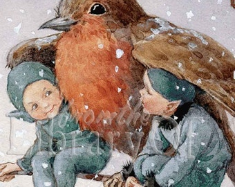 Sheltering Love - Robin and the Elves - 12 for 10 - ADHESIVE -   Personalized Bookplates - Great Gift