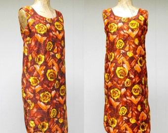 Vintage 1960s Hawaiian Shift / 60s Cotton Floral Muu Muu / Small