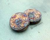 2pc Triple Spiral Beads, Celtic Pendants, High Fired Ceramic, 30mm