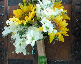 Sunflower Wedding Bouquet (White and Yellow and Green Bouquet, Wildflower Bouquet, Silk Bouquet) Prairie Wedding