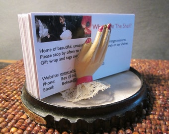 1940s Painted Cast Iron Lady's Hands - Business Card or Jewelry Holder - Original Base for Forever Yours Perfume Display