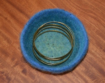 Felted Bowl in Blue and Green