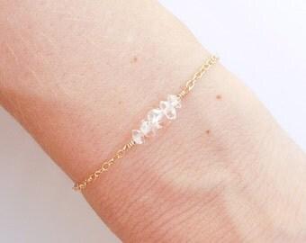 Herkimer Diamond Bracelet in Gold - April Birthstone