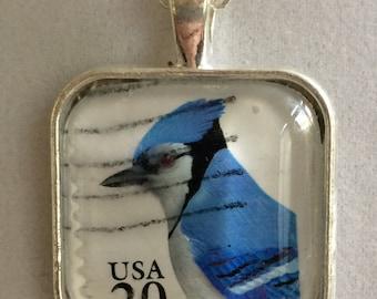 USA Stamp Blue Jay Pendant Necklace