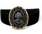 Cameo Dress Clip - Victorian Revival, Black Rhinestones