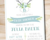 Antler Stag Baby Shower Invitation - Printable invitation