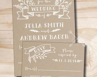 Rustic Kraft Wedding Invitation and Response Card Invitation Suite