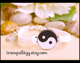 Yin Yang Bracelet , White Faux Suede Adjustable Bracelet Handmade By Tranquilityy