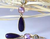 Indigo Purple Earrings, Chandelier Earrings, Dangle Earrings, Drop Earrings, Bridal Jewelry, Wedding Earrings, Birthday Gift, Valentine Gift
