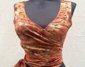 Choli Wrap Top for Belly Dancers burning man festival dance yoga distressed orange autumn metallic