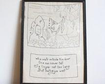 Vintage Embroidered Fish Poem Framed Art