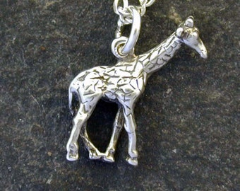Sterling Silver Giraffe Pendant on a Sterling Silver Chain.