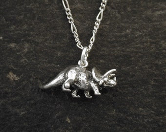 Sterling Silver Tricerotops Dinosaur Pendant on a Sterling Silver Chain.