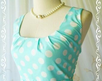 SALE Blue dress polka dot dress blue sundress blue party dress blue tea dress polka dot sundress blue bridesmaid dresses vintage style