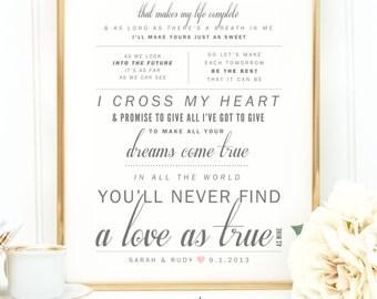 "Light Gray, Blush Pink, George Strait ""I Cross My Heart"" - Valentine's, Wedding Gift, Cotton, Paper Anniversary Gift, Song Lyrics, Art Print"