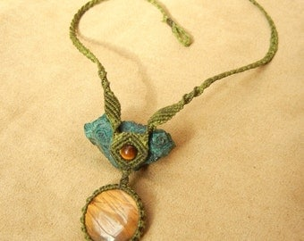 Tiger Eye Necklace in Sage Green Micro Macrame Fiber Knotting