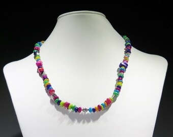 Necklace -A rainbow of mother of pearl beads - Silver Tone Beads