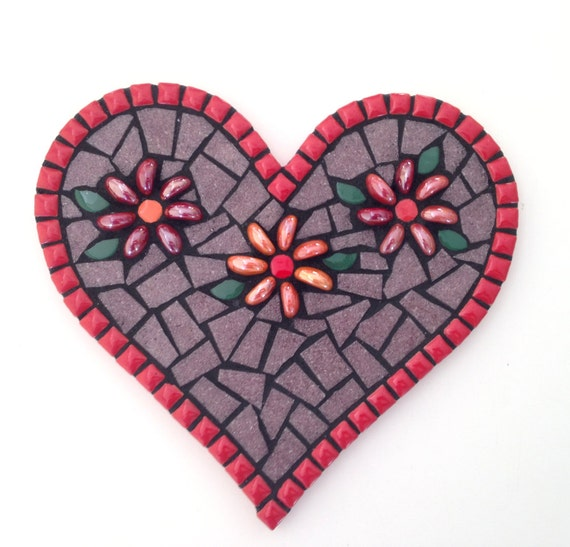 Red Mosaic Wall Decor : Mosaic heart and flower wall decor in by