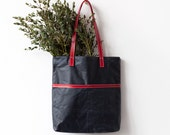 LAST ONE Navy Blue Waxed Canvas Tote bag No.Tw- 101