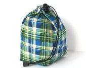 Clearance - Drawstring bag - small reversible - knitting bag - blue/green plaid