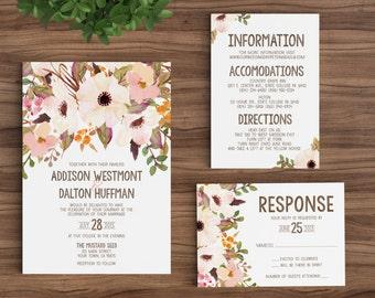 Wedding Invitation Template Printable Rustic Bohemian Floral - Watercolor, Vintage, Maroon, Ecru, Brown, Tan, Fall, Winter unique DIY (1092)
