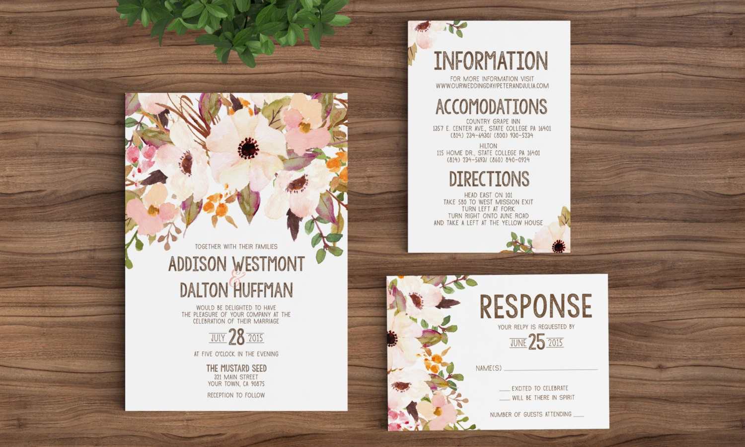 Wedding invitation template printable rustic bohemian floral for Vintage sites like etsy