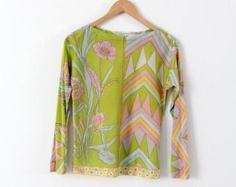 vintage Emilio Pucci blouse, 60s silk shirt