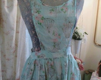 Vintage Full Dress Apron CUTEST Jadeite Mint Green Birdcage Fabric Pink Flowers P32