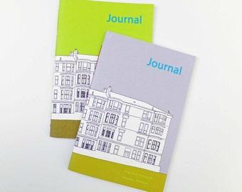 SALE - 2 Glasgow journals, Scottish notebooks, blank notebooks. Lime Green Journal, A5 Journal, Grey Journal, unlined notebook