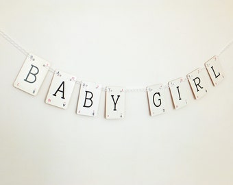 BABY GIRL Bunting - garland, recycled banner, baby shower bunting, new baby, nursery decor