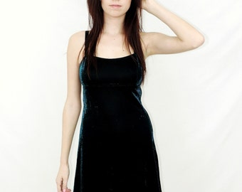 90s Vintage Iridescent Skater Dress~ 1990s Mini Cage Back Dress~ S