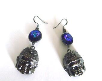Buddha Earrings with Swarovski Crystal Elements, Gunmetal Spiritual Jewelry, Buddah, Buda, Purple Crystal, Long Dangle Earings, Buddha Charm