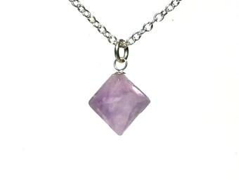 Fluorite Pendant - Lavender Natural Crystal Octahedron Necklace