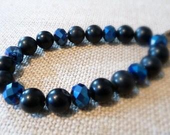 Black Agate And Blue Crystal Stretch Bracelet, Metallic Glass Beads, Stone Stretchy Bracelet, Black And Blue Jewelry, Elastic Bracelet