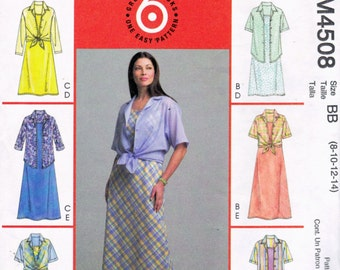 McCall's 4508 Pattern  6 Quick & Easy Summer DRESS with MATCHING JACKET Shirt A-Line Pullovers -  Women's 8 10 12 14