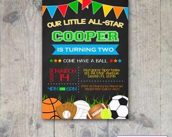 CHALKBOARD SPORTS 5x7 Invitation - Boy Birthday Party - Printable