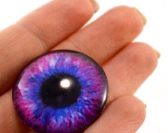 Glass Eye Cabochon 30mm Pink and Blue Fantasy Human Eye for Steampunk Jewelry Making or Taxidermy Doll Eyeball Flatback Circle