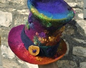 Hand felted wool Top Hat- 'Mad Rainbow Hatter' - hand dyed wool handmade felt - purple pink red gold green multicolor - CUSTOM ORDER ARtWeAR