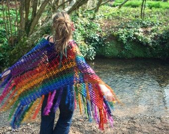 Knitted poncho tassled shawl 'The Ultimate Rainbow' MADE to ORDER - Hand dyed handspun sparkly wool bright art yarn - Handmade fiber ARtWeAR