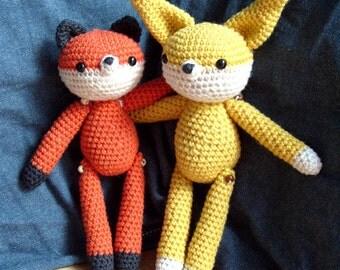 Fox and Fennec jointed amigurumi crochet pattern pdf