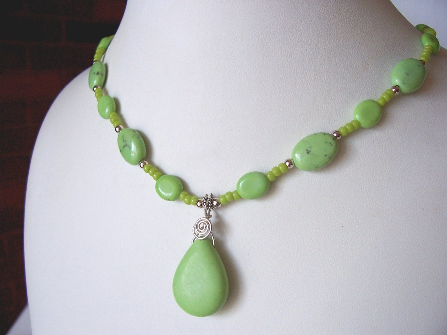 fall sale green turquoise necklace green necklace pendant