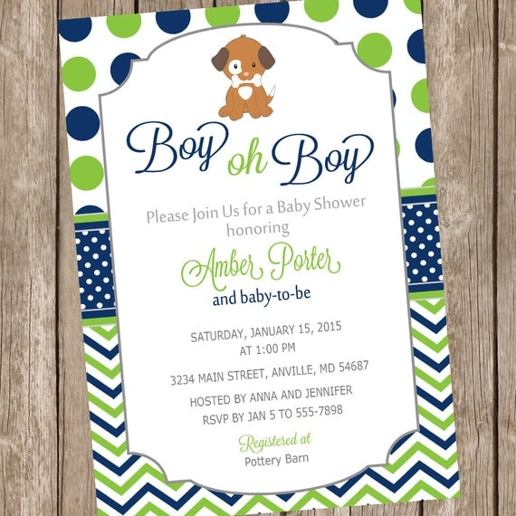 Boy oh boy puppy baby shower invitation lime and navy chevron il570xn filmwisefo
