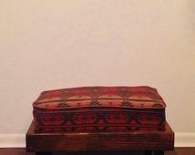 Hand Built Footstool - Hand Built Ottoman - Tribal Pattern - Bohemian Ottoman - Boho Ottoman - Custom Ottoman - Customizable