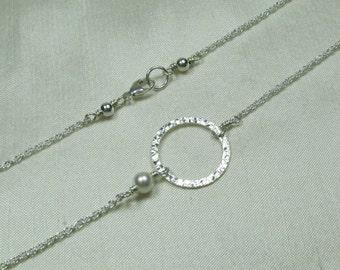 Bridesmaid Necklace Pearl Karma Necklace Silver Circle Necklace Pearl Bridesmaid Jewelry Wedding Jewelry Bridesmaid Gift Bridal Necklace