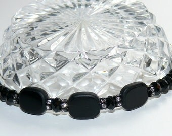 Black Wrist Bling with Sterling Silver Toggle Handmade Ladies Bracelet